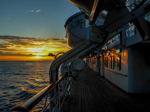 Dawn at Madeira on the classic liner Funchal.