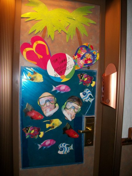 Your cabin door when you travel with an art major :)