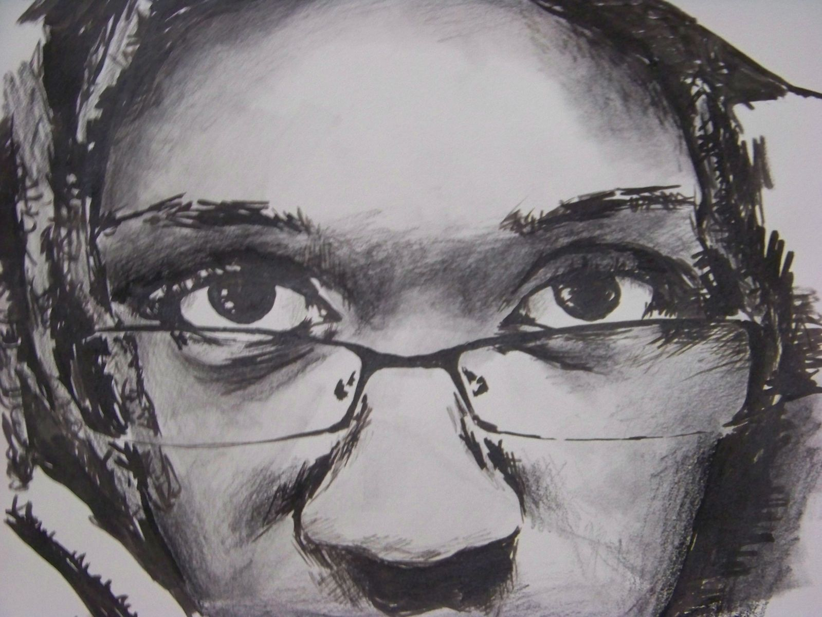 Self Portrait in ink and charcoal