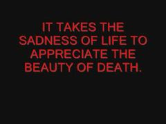 It takes The sadness Of life To appereiate The beauty Of death beauty quote