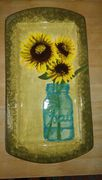 sunflowers ceramic platter