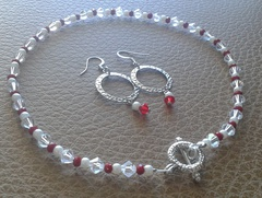 Swarvoski crystal, pearls and red garnet glass beads necklace