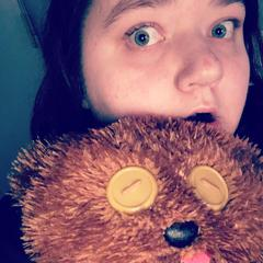 "Myself, and dat creepy bear of mine. Tim, Bob the minion's teddy bear from the movie ""Minions"""