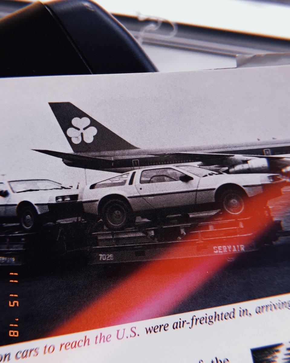 First production De Lorean cars fly out of Belfast. Yes, they actually flew.