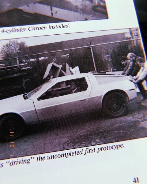 """Driving"" the uncompleted first prototype (Bill Collins, Sterling Heights, MI, 1976)"