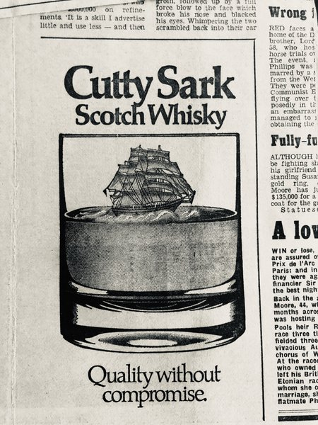Cutty Sark ran many ads featuring De Lorean