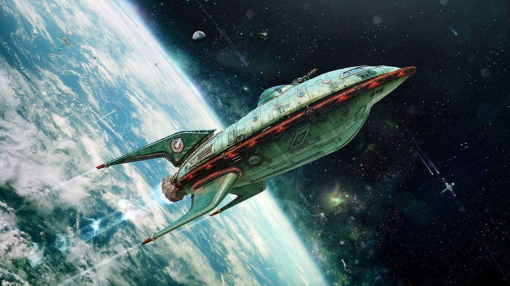 257313-digital_art-space-universe-spaceship-rockets-planet-Earth-Futurama-3D-vintage-artwork-satellite-bokeh-futuristic-planet_express-realistic.jpg