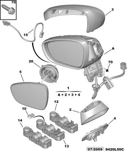 Rétroviseur Extérieur Miroir Nouveau TYC 321-0055 Droit Mode de fonctionnement électriquement