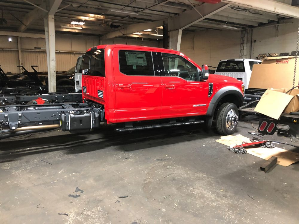Red Lariat Ford F-550 chassis ready for the UPF PolyBody