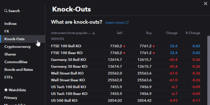 New: Knock-outs