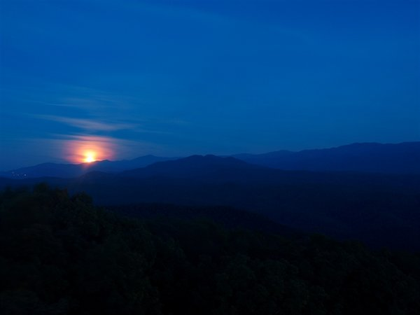 Moon rise over the Smokies