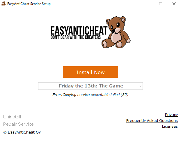 EasyAntiCheat Error (32) - Friday The 13th: The Game Bug
