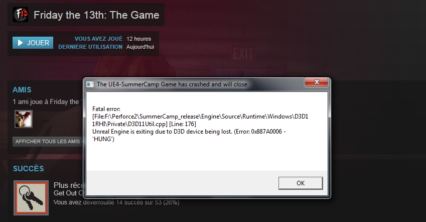 Error Steam PC - Message - Friday the 13th: The Game General