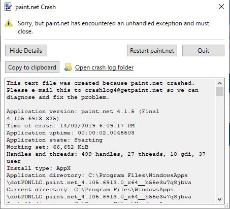 Paint net Crashes on start up - Troubleshooting & Bug Reports