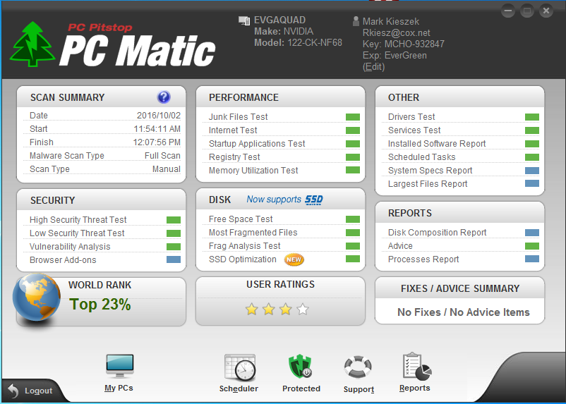 My PC Matic test results World Rank 6% or 23% ? - PC