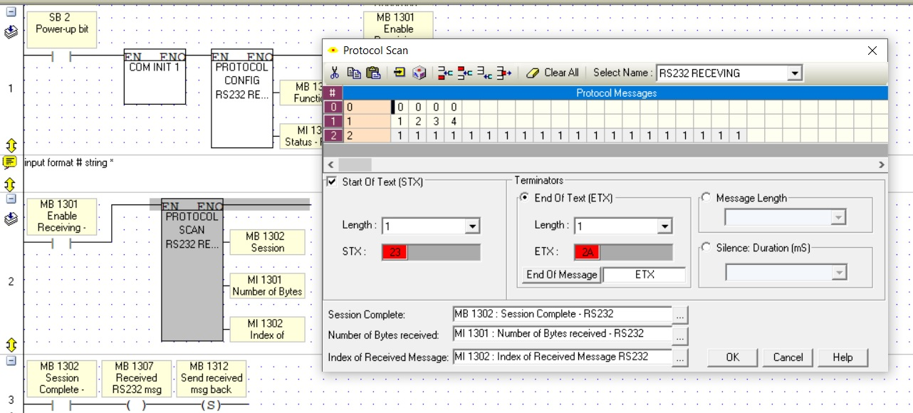RS232 data read - Vision & Samba PLC + HMI Controllers