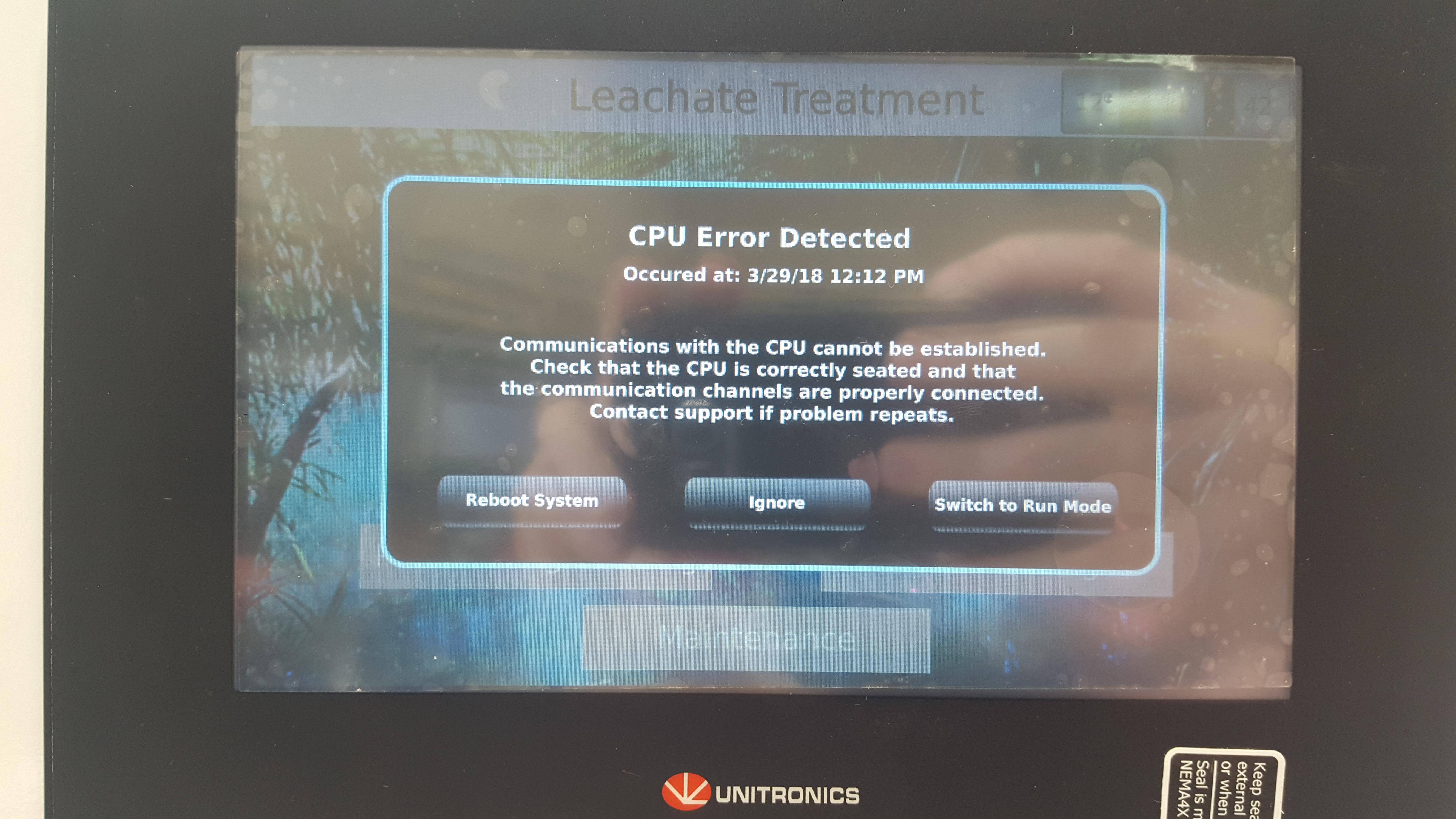 CPU error - UniStream: Hardware - Unitronics Support Forum