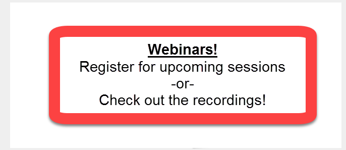 Webinars--LOCK-DOWN series!!