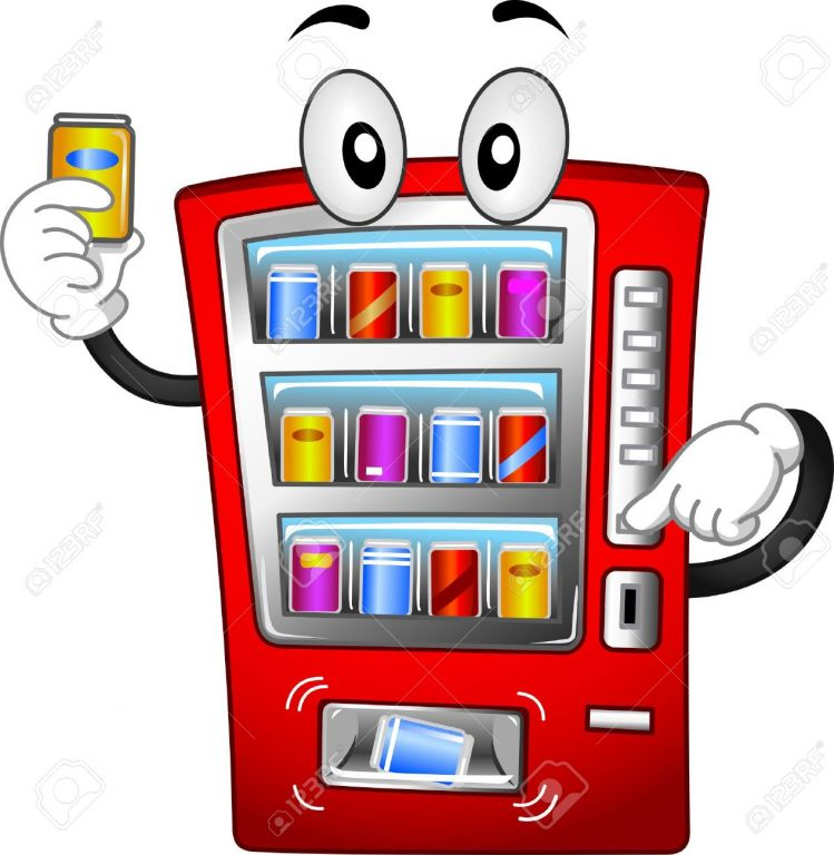 14231828 Mascot Illustration Featuring A Vending Machine Stock Illustration cartoon