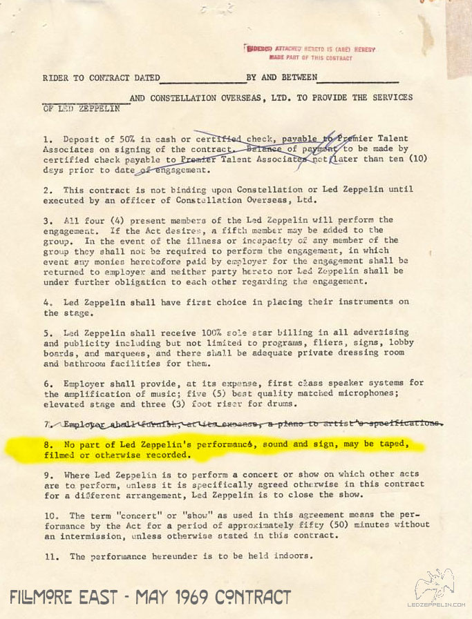 Fillmore East May 1969 Contract No Recording Clause Led Zep