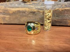 Emerald, diamond and gold nugget ring