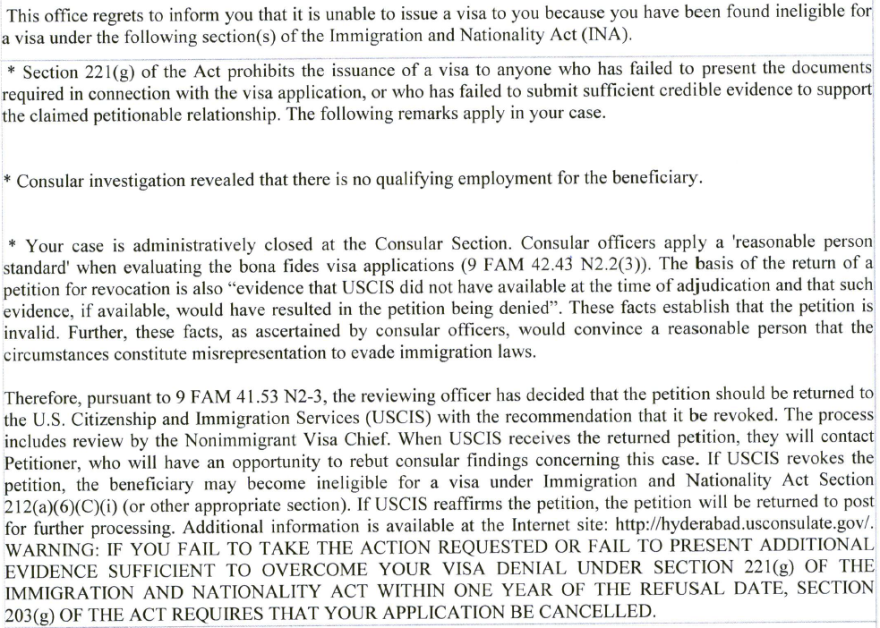 H1B refused 'OF-194 refusal - contact DHS USCIS' - H1B : Portability
