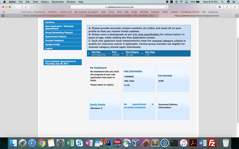 Question regarding scheduling appointment(DropBox) - H1B : Visa