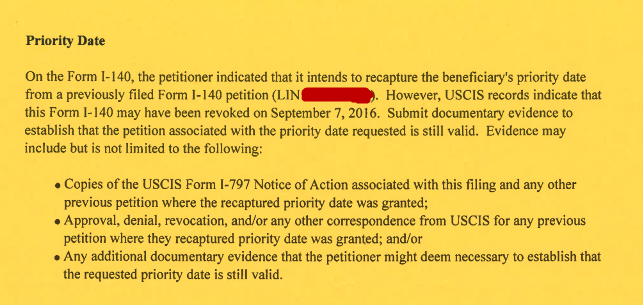 Issue on recapture of Priority Date from previously filed I