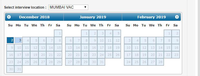 Mumbai Visa Center doesn't have any dates open in January