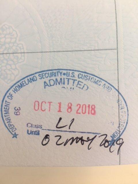 L1A visa stamped till April 2019  But, my company attorney