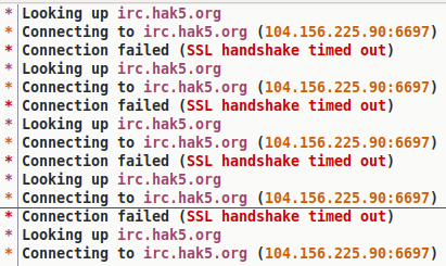 IRC connection woes - #Hak5 - Hak5 Forums