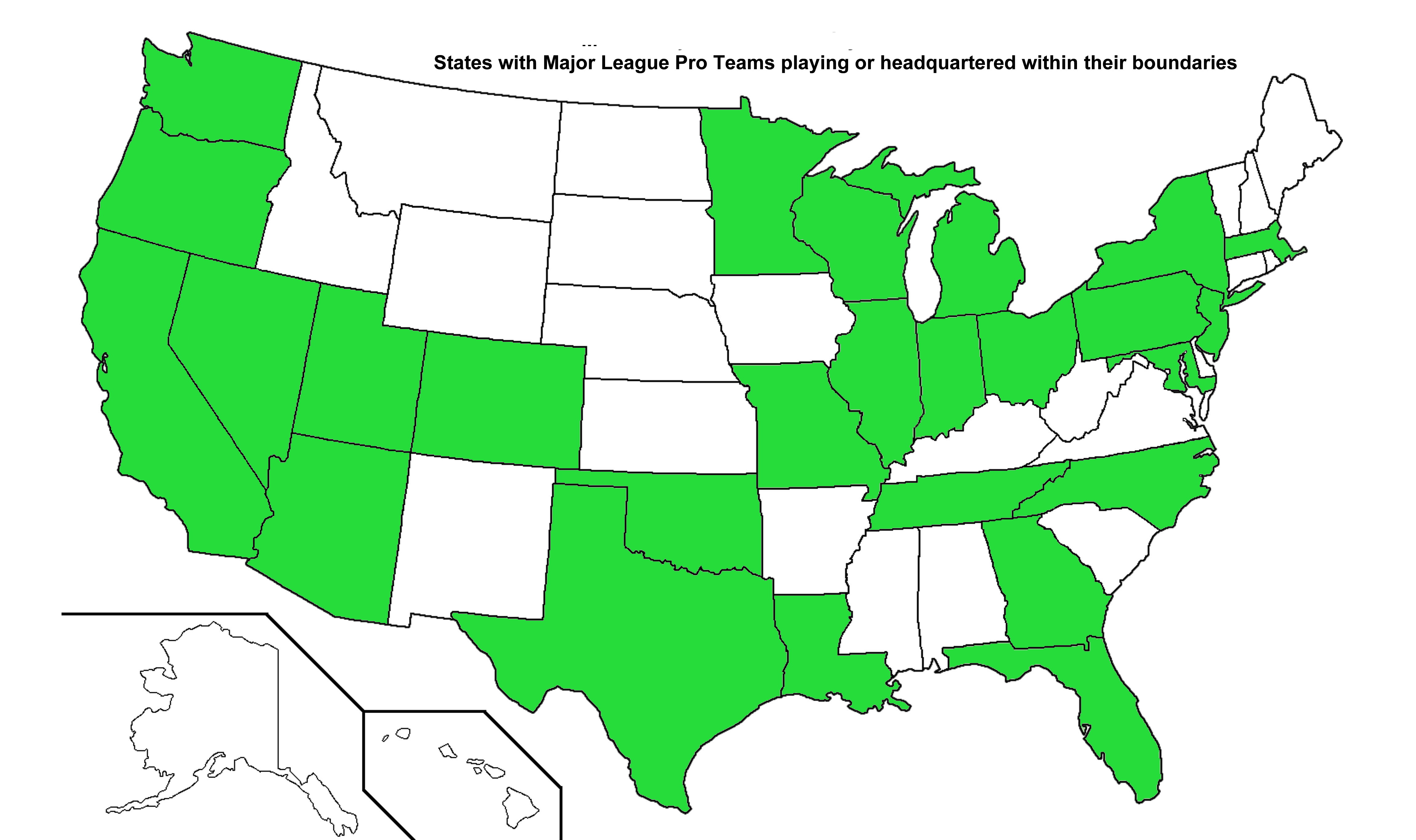 States with Major League Pro Sports Teams Sports In General