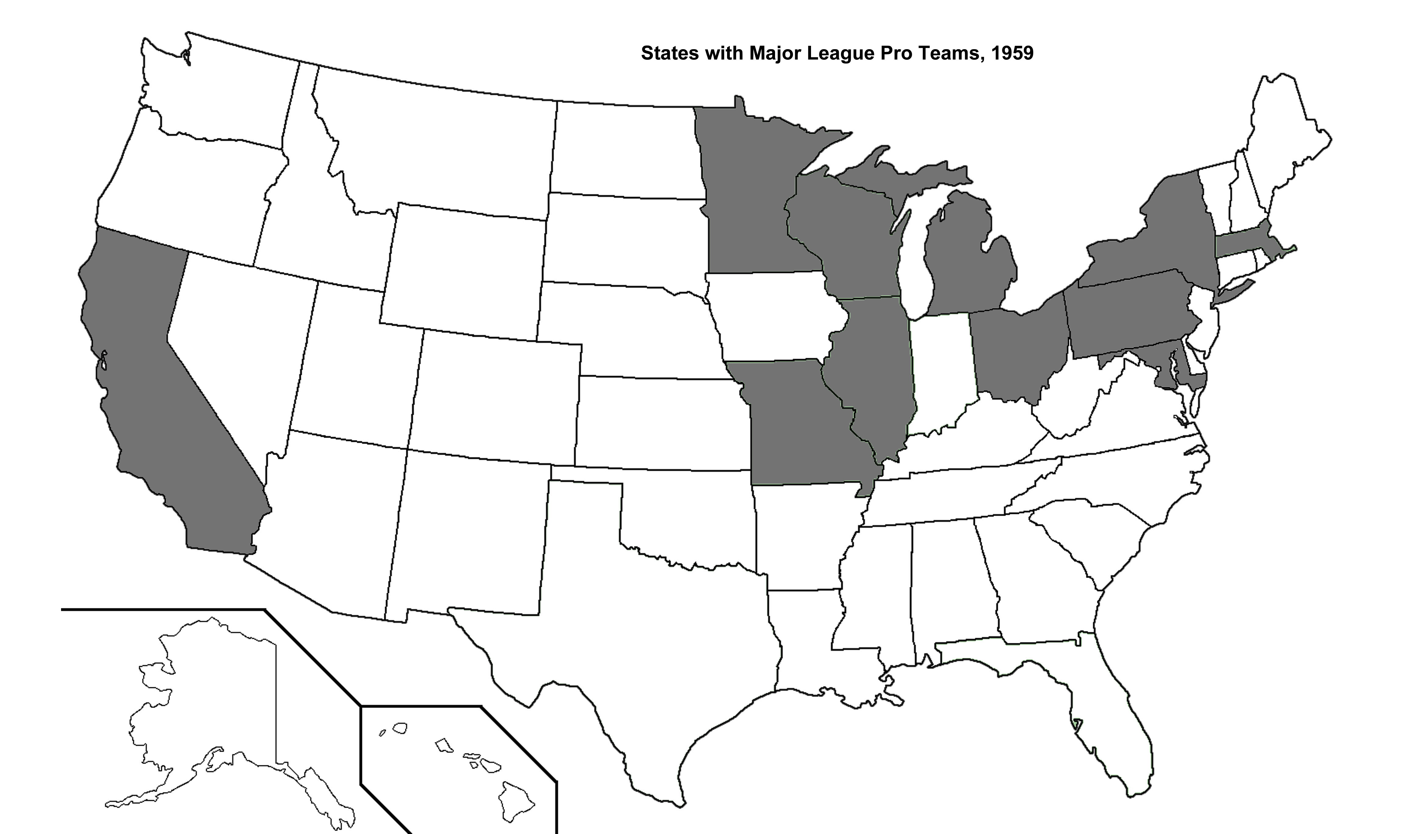 States With Major League Pro Sports Teams Sports In General - Map of us pro sports teams