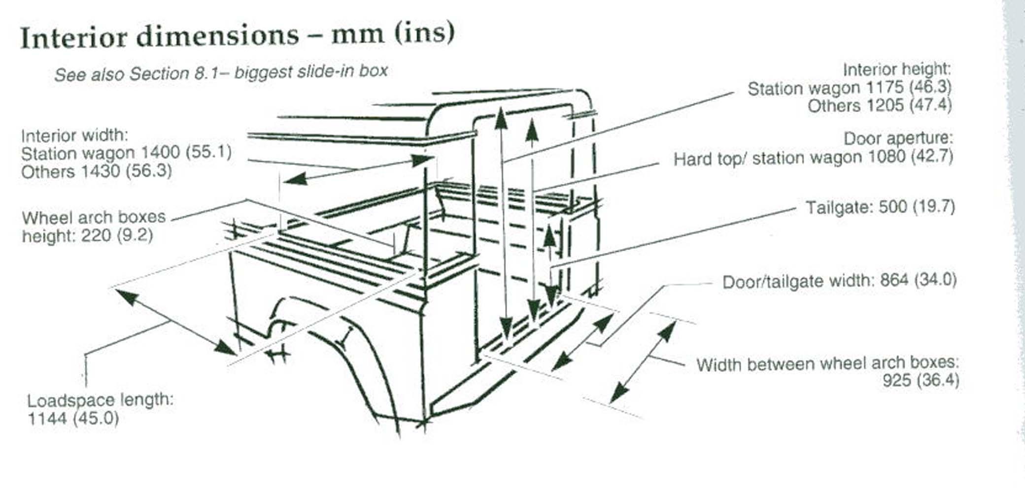 90 truck cab tub dimensions - Defender Forum - LR4x4 - The Land ...