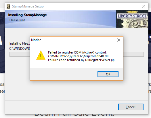 StampManage 2019 Error after Installing.PNG