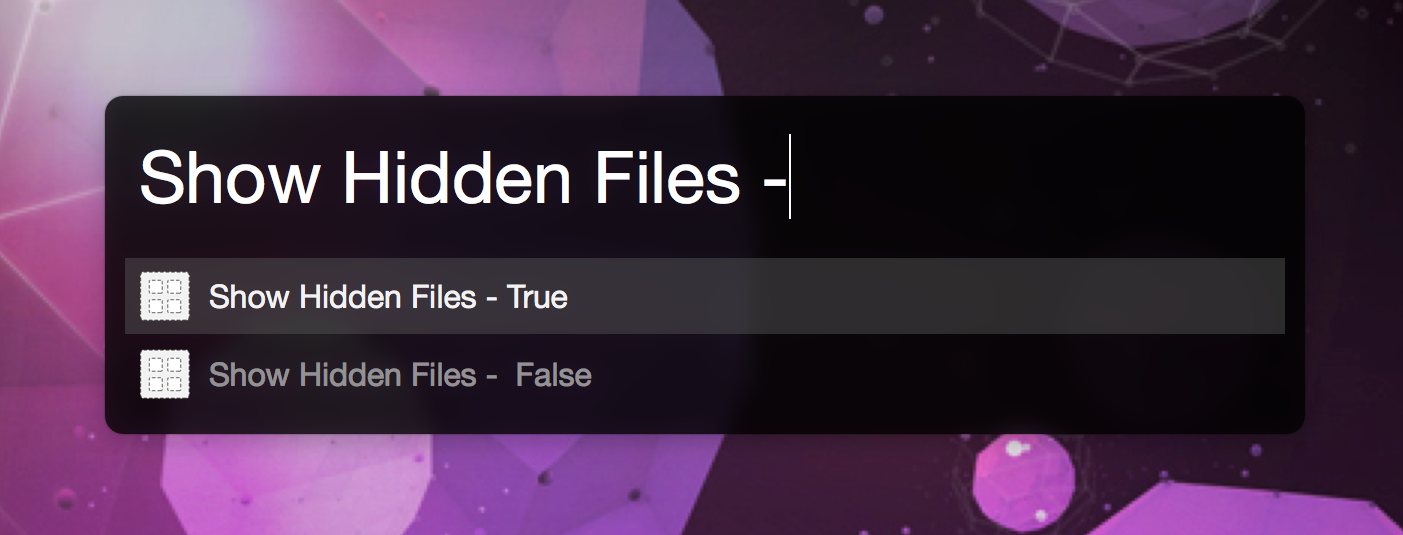 Show Hidden Files - Toggle (Finder) - Share your Workflows - Alfred
