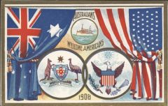 Postcard Australians welcome Americans 600x379