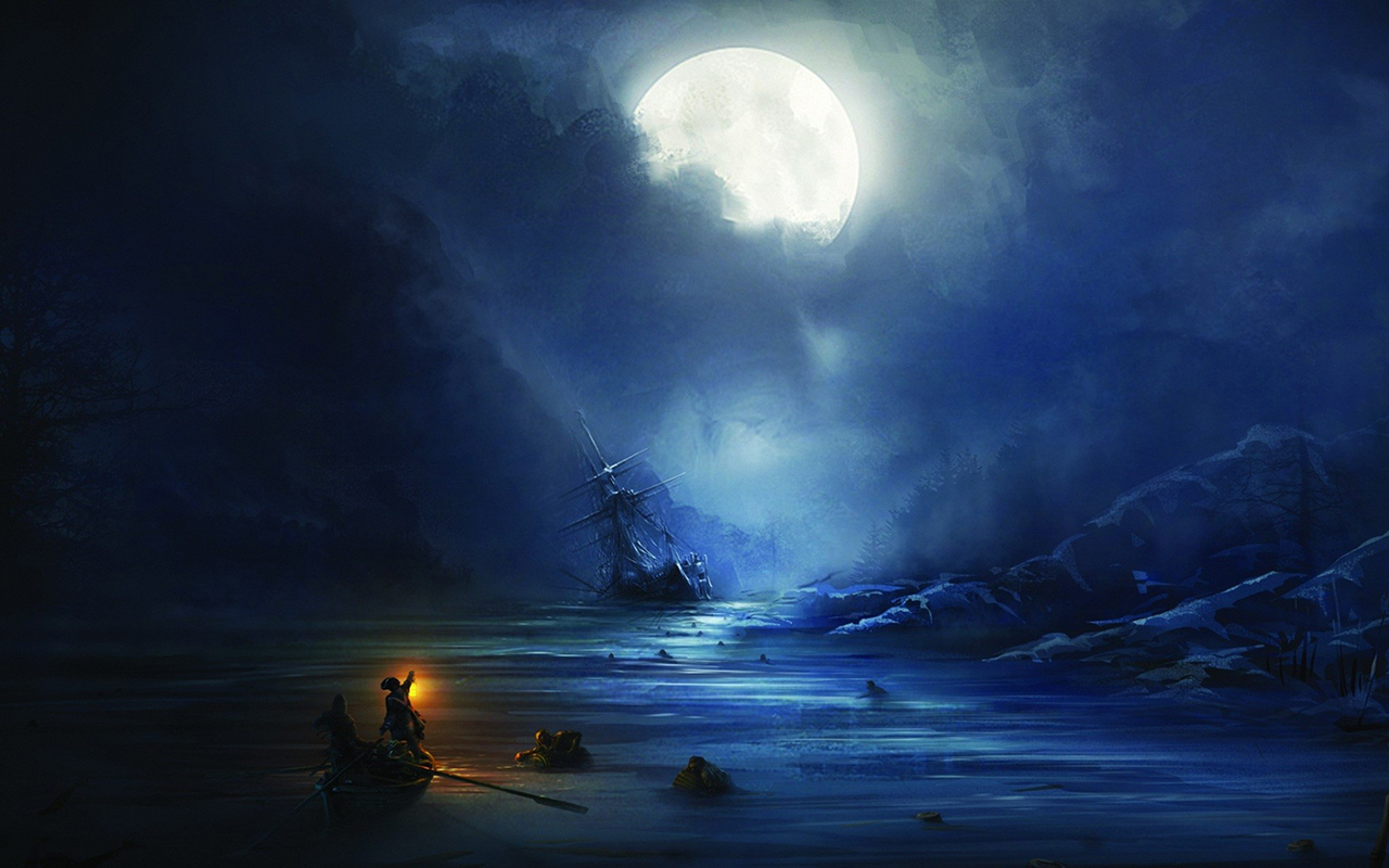 drawing moon night pirate sail ship schooner ship shipwreck