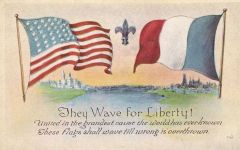 WWI American French Flags