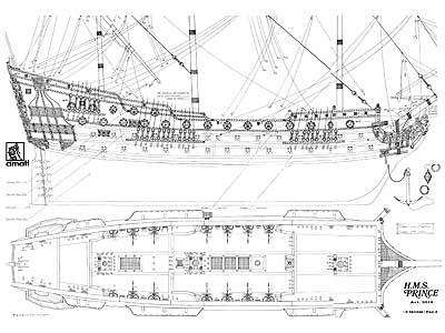 Hms Pince 1670 1st Rate With Plans Ships Of The Line Game