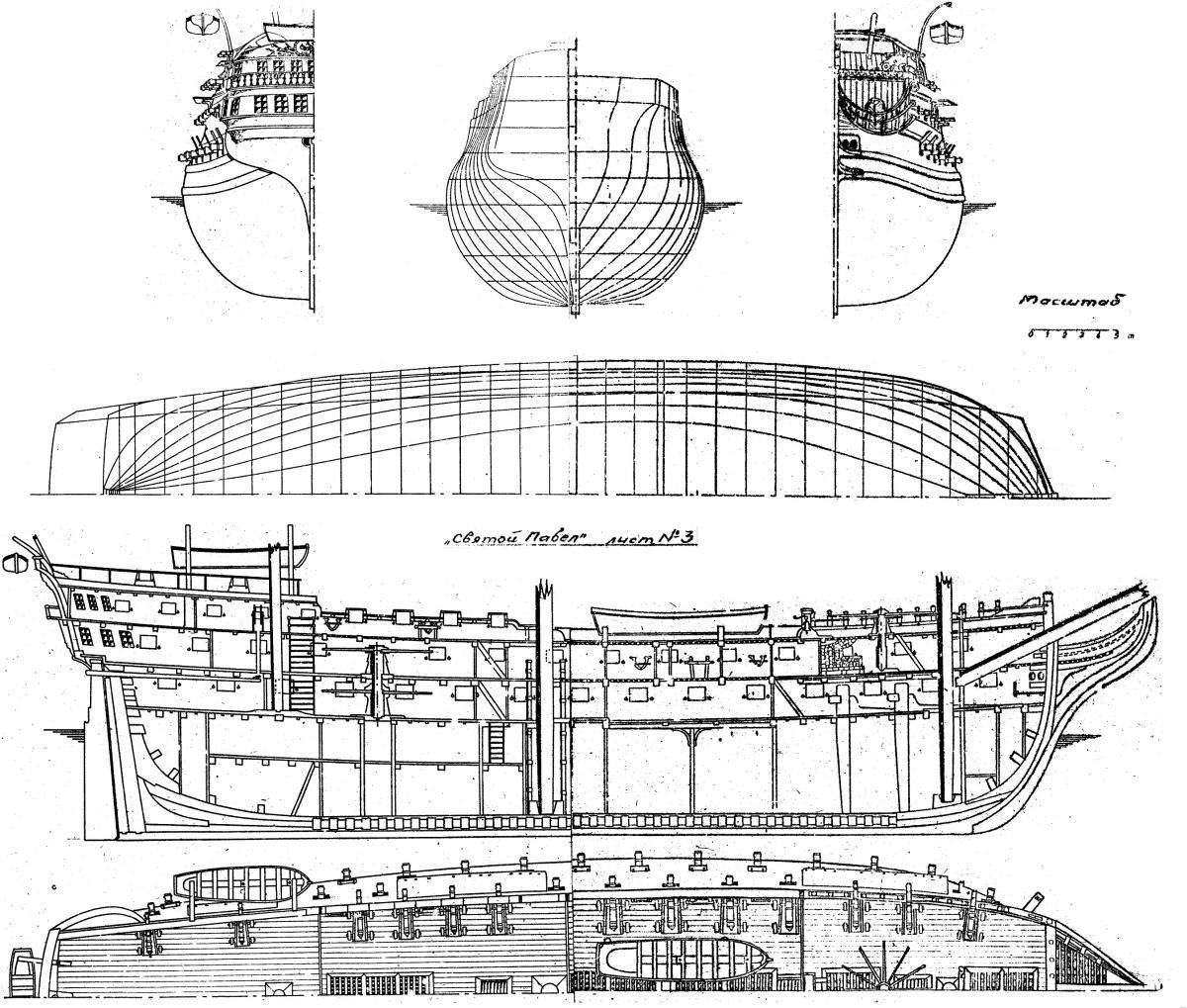 Схемы деревянных парусников