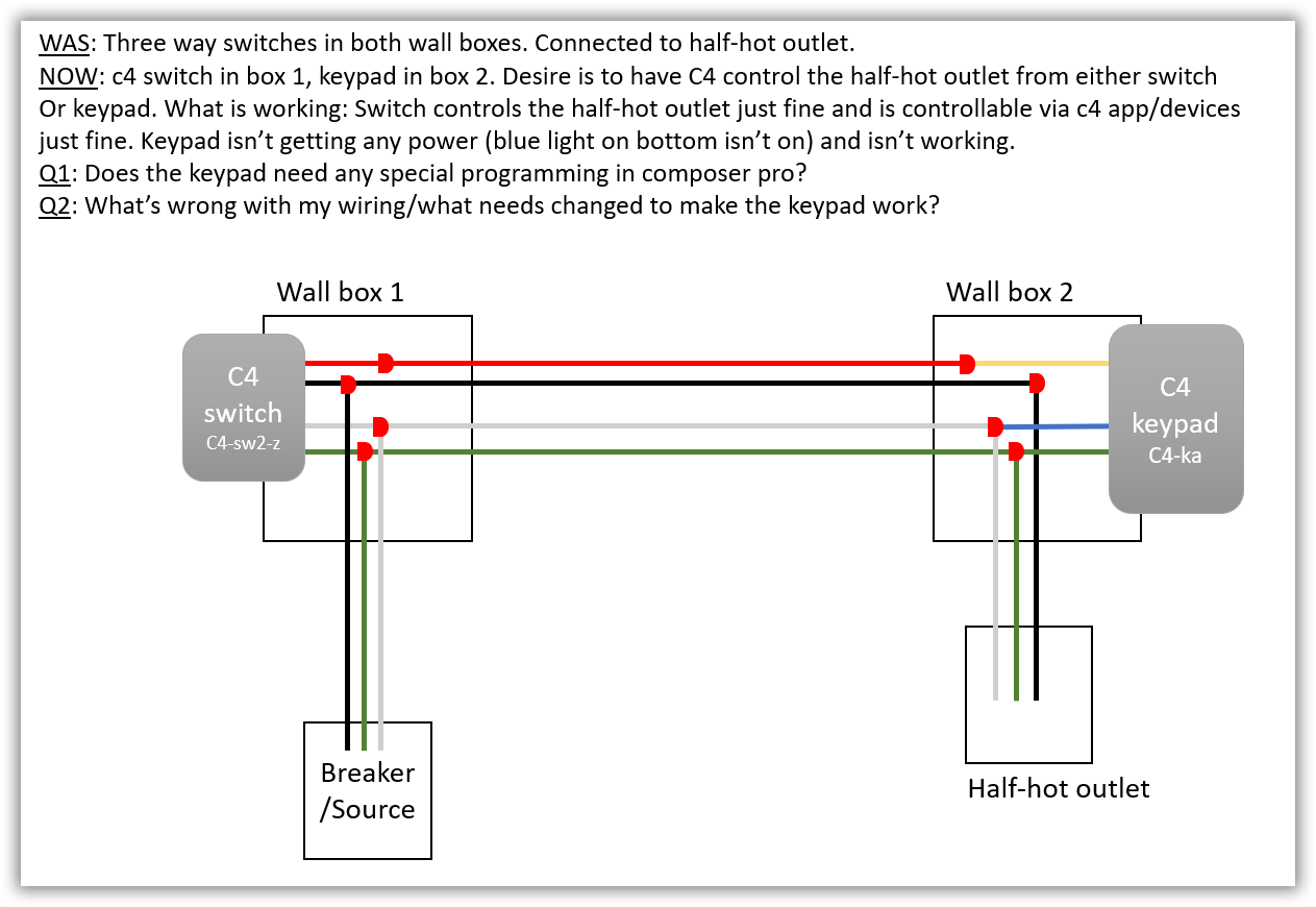 Three-way switch to power half-hot outlet, Keypad isn't working, Diagram  enclosed - Troubleshooting, Workarounds, & Bugs - c4forums | The Control4  Communityc4forums