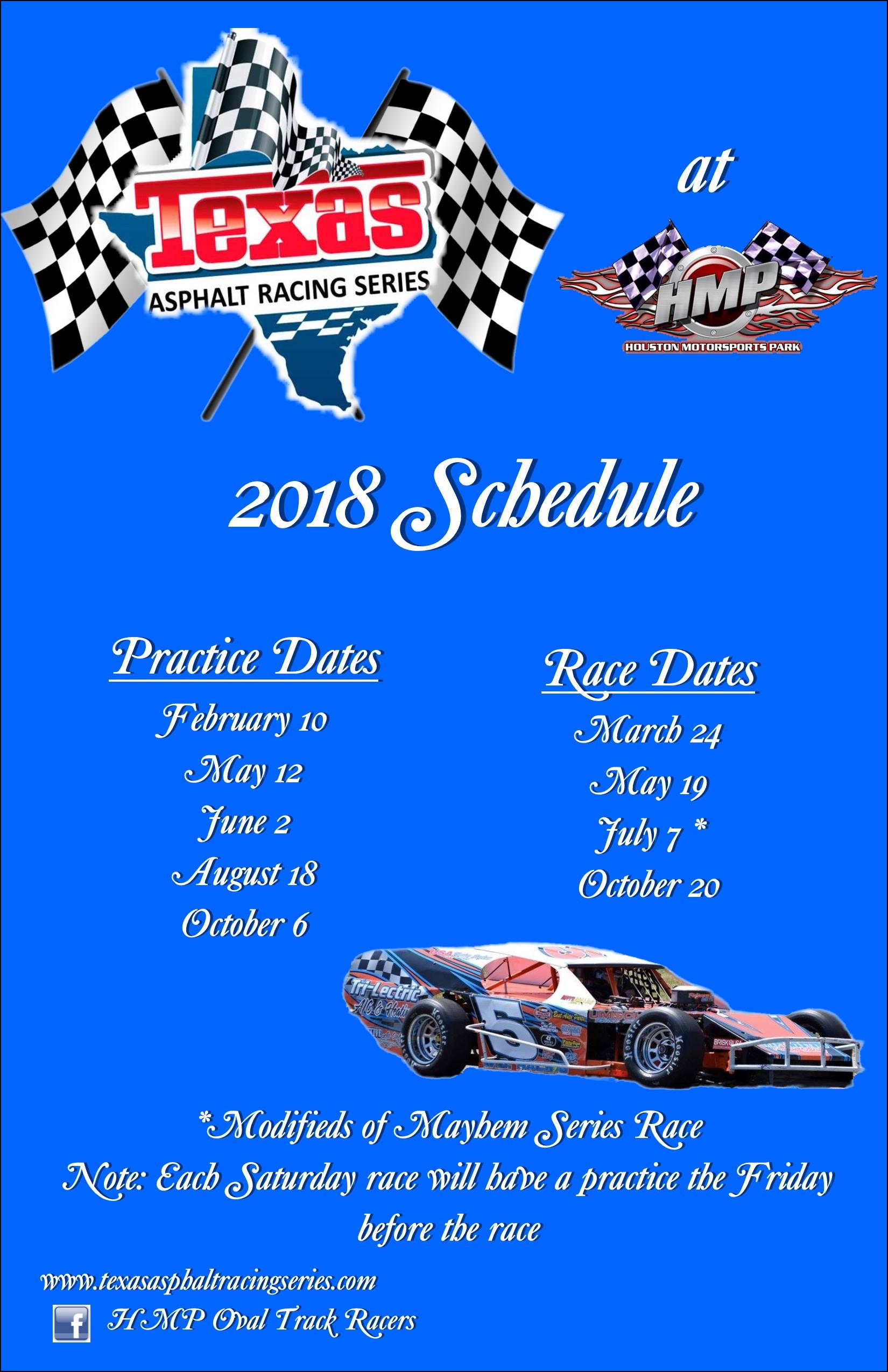 2018 Texas Asphalt Racing Series Schedule Texas Auto Racing Lone