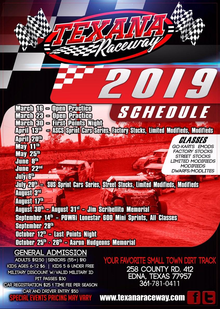 Texana Raceway Park 2019 schedule - Texana Raceway - Lone