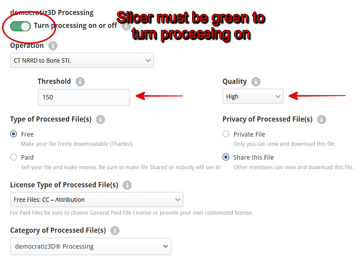 Figure 7, turn on democratiz3D processing