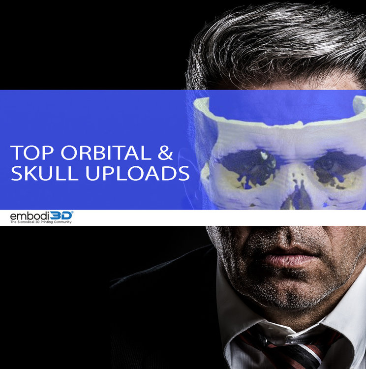 Graphic illustration of a person overlaid with an orbital and skull 3D model.