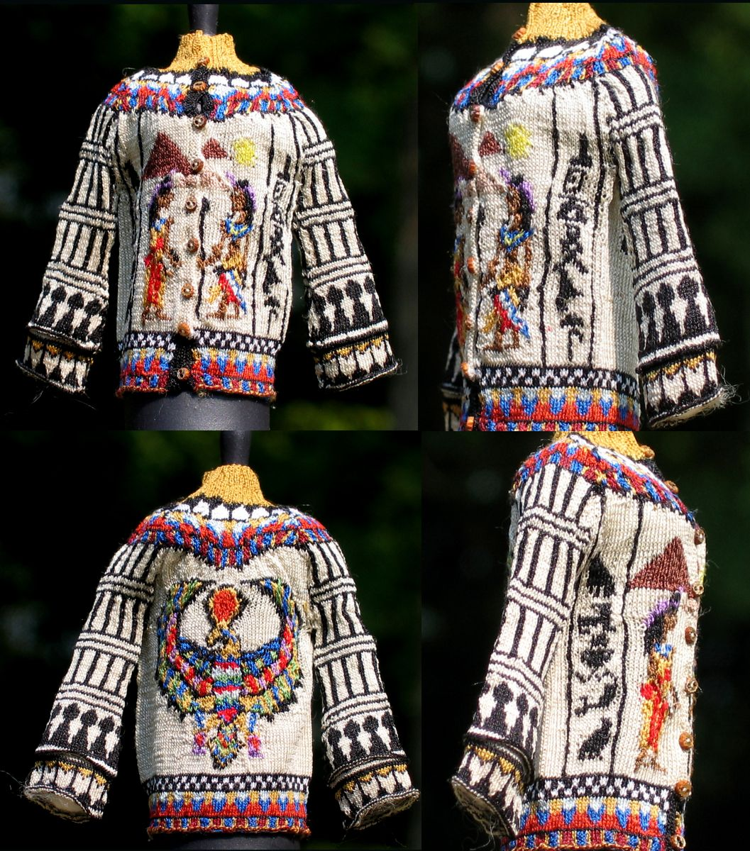Egyptian Cardigan--Four views, by Althea Crome