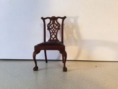 Chippendale chair with leather seat by Elizabeth Gazmuri