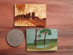 Marquetry Pictures from colored woods by Ursula Dyrbye-Skovsted