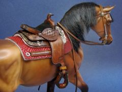 Western Saddle on Model Horse by Deb Mackie
